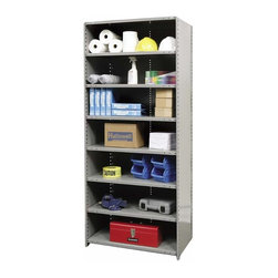 Hallowell - 87 in. High 8-Tier Hi-Tech Heavy-Duty Closed Shelf in Gray (48 in. W x 18 in. D - Depth: 48 in. W x 18 in. D x 87 in. H. Strong and durable with a closed back and sides for stability, this eight-tier utility shelf will be an excellent way to turn a messy garage or basement into a neat and orderly work space. Crafted of cold rolled steel in gray finish, the unit is available in your choice of sizes and can be paired with an optional adder for added storage. Includes 2 beaded front posts, 2 angle back posts, 1 back panel, 2 side panels. 8 Adjustable shelves. Fabricated from cold rolled steel. Welds are spaced 3 in. on center to provide maximum strength. Sides are triple flanged to form a channel. All 4 corners are lapped and resistance welded to provide a rigid corner and add extra strength to the shelf. Tubular front edge is designed to protect against impact loads. 48 in. W x 12 in. D x 87 in. H. 48 in. W x 18 in. D x 87 in. H. 48 in. W x 24 in. D x 87 in. H. Assembly required. 1-Year warranty