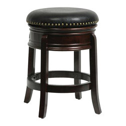 "Boraam - Boraam 24"" Hamilton Swivel Stool in Cappuccino - Boraam - Bar Stools - 43824 - The Hamilton Swivel Stool by Boraam Industries is composed of solid hardwood in a brandy finish, and engineered to perfection. Rich bonded leather upholstery and authentic brass nail head trim lend a note of sophistication to this classic counter stool. This wooden barstool also features traditional molding on the apron, high density foam padding, and a steel swivel plate with full ball bearing design for an effortless 360-degree turn. Each leg has a strategic flare design that provides durability and balance to those who sit."