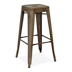 Design Lab MN - Amalfi Stackable Rustic Matte Steel Barstool Set of 4 - Give your restaurant, bar or bistro a cool rustic vibe with this vintage steel colored barstool. Featuring a rich, matte finish and a sturdy, rolled steel frame, this industrial metal steel is perfect for even those high-traffic areas. You can even stack them for easy cleaning, storage or space saving!