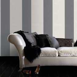 Graham & Brown - Glitz Wallpaper - Stripes are always in fashion Darling___ and the best thing about this little number from the Julien Macdonald fashion house is that its sooo wearable! This cool grey & white mix is so this season. Use horizontally to create width to a room or vertically to create height, as a feature wall with one of the co ordinates from the FABULOUS collection this design is a mix and match dream. Bold stripes with a glittery finish for the ultimate in up to the minute fashion for walls. Paste the wall wallpaper instead of the paper means that its not only quicker to dress your wall, its also easier to remove when you want to strip them. The embossed texture also means that the surface is durable and washable giving you style substance and ease of use.