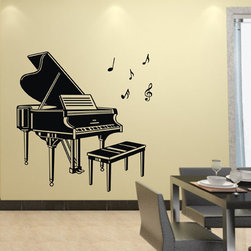 ColorfulHall Co., LTD - Removable Musical Instrument Piano With Chair Music Wall Decals, Black - Removable Musical Instrument Piano with Chair Music Wall Decals