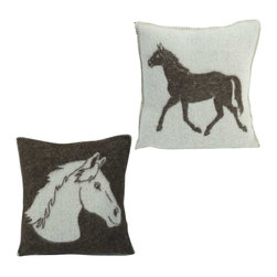Happy Blanket - Boiled Wool Toile Pillow Horse, Brown - Wool is a natural temperature regulator, naturally hypoallergenic, naturally breathable and even improves sleep quality.