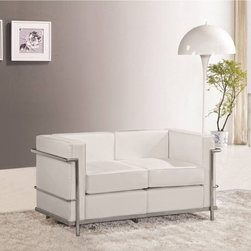 Fine Mod Imports - Lc2 Cube Petit Loveseat - Contemporary style. Genuine leather cushions covering on front, sides and back. Polished stainless steel frame. Warranty: One year. White color. No assembly required. 51 in. L x 29 in. W x 26 in. H (70 lbs.)