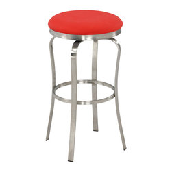 Chintaly Imports - Red Modern Backless Bar Stool - This is a modern style bar stool with retro looks. It has a brushed stainless steel frame. It comes in Red or White Polyurethane cushioned button style seat. You can choose Bar stool height or Counter stool height.