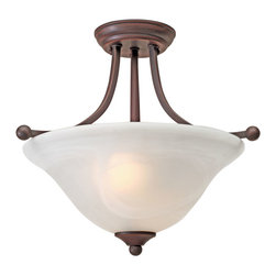 Golden Lighting - Candace Semiflush, Rubbed Bronze - The graceful design of this ceiling light makes it an ideal fixture if you're looking for elegance and versatility. A milky white canopy lends a luminous glow, and its curved lines bring it all together.