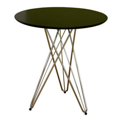 Baxton Studio - Baxton Studio Daimen Black Round Table - This small contemporary dining table is straightforward on top and delightfully intricate underneath! The tabletop is black lacquered MDF wood and is supported by a strong chromed steel base. The base, though appearing to be a collection of wires, is sturdy. The table comfortably seats 1-2 individuals. Assembly is required.