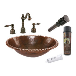 Premier Copper Products - Oval Roped Rim Self Rimming Sink w/ORB Faucet - PACKAGE INCLUDES: