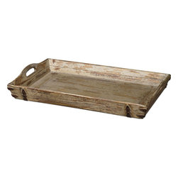 Uttermost - Abila Wooden Tray - Heavily Distressed, Antiqued Cream Finish With Natural Fir Wood Undertones And Antiqued Bronze Accents. Cutout Handles For Ease Of Carrying.