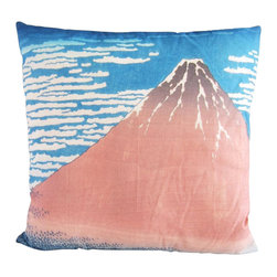 Poetic Pillow - Red Fuji Hokusai Pillow - Transform any space with a pillow from Poetic Pillow. Each pillow is inspired by fine works of art and printed on the front and back.   Covers are made of pre-shrunk satin-like polyester fabric. All seams are finished to prevent fraying and pillow covers have a knife edge finish.. A concealed zipper allows for ease of inputting pillow inserts.  A duck feather insert is included for soft yet supportive feel.  Cushion inserts are encased in a cotton cover and filled with 100% duck feather.  All research, design and packaging is completed in Oakland, California.