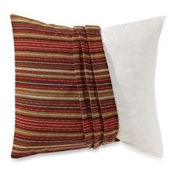 Spencer N. Enterprises - Houston Stripe Pillow Cover - HOUSTON STRIPE RED/TAUPE PILLOW COVER