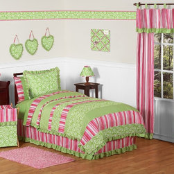Sweet Jojo Designs - Sweet Jojo Designs Girls 'Olivia' 4-piece Twin Comforter Set - This designer girl bedding set uses a sensational collection of Sweet Jojo exclusive cotton fabrics. Perfect for your girly girl,this green and pink set features a lightweight comforter,ruffled bedskirt and matching window valance.