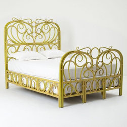 Radana Rattan Bed - I can't imagine ever having a bad dream while slumbering in this beauty. Chartreuse rattan was bound together to make this truly beautiful place to sleep.