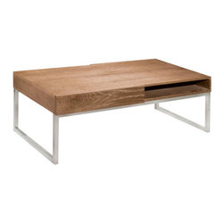 """Sunpan Modern - Frameo Coffee Table with Lift-Top - Features: -Material: Oak, oak veneer and MDF.-Chrome frame.-Reclaimed look finish.-Frameo collection.-Collection: Frameo.-Style: Transitional.-Top Finish: Driftwood.-Wood Tone: Light.-Distressed: No.-Powder Coated Finish: No.-Gloss Finish: No.-Wrought Iron: No.-Top Material: Wood.-Base Material: Steel.-Number of Items Included: 1.-Non-Toxic: Yes.-UV Resistant: No.-Scratch Resistant: No.-Stain Resistant: No.-Moisture Resistant: No.-Design: Rectangle.-Drop Leaf: No.-Shape: Rectangle.-Lift Top: No.-Tray Top: No.-Storage Under Tabletop: No.-Folding: No.-Magazine Rack: No.-Built In Clock: No.-Powered: No.-Nested Stools Included: No.-Casters: No.-Exterior Shelves: No.-Cabinets Included: Yes -Number of Cabinets: 2..-Drawers Included: Yes -Number of Drawers: 2.-Drawer Interior Finish: Plywood.-Drawer Glide Material: Steel.-Drawer Glide Extension: 0.75.-Ball Bearing Glides: Yes.-Safety Stop : Yes.-Joinery Type: Butt..-Corner Block: No.-Cable Management: No.-Adjustable Height: No.-Glass Component: No.-Upholstered: No.-Outdoor Use: No.-Swatch Available: No.-Commercial Use: Yes.Dimensions: -Overall Height - Top to Bottom: 16.75"""".-Overall Width - Side to Side: 47.25"""".-Overall Depth - Front to Back: 23.75"""".-Table Top Thickness: 5"""".-Table Top Width - Side to Side: 47.25"""".-Table Top Depth - Front to Back: 23.75"""".-Drawers: -Drawer Interior Height - Top to Bottom: 3"""".-Drawer Interior Width - Side to Side: 20"""".-Drawer Interior Depth - Front to Back: 12""""..-Shelving: No.-Cabinets: Yes.-Legs: -Leg Height - Top to Bottom: 11"""".-Leg Width - Side to Side: 1"""".-Leg Depth - Front to Back: 23""""..-Overall Product Weight: 68 lbs."""