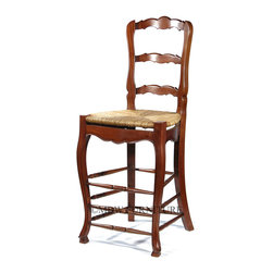 MBW Furniture - Solid Mahogany Ladder Back Bar Stool w/ Hand Woven Rush Seat - This product is finely constructed from top grade kiln-dried Solid Mahogany. Artisans use the old world method of tongue and groove and mortise and tenon joinery to create this beautiful and durable piece of furniture. Its superb hand-crafted quality will add a touch of elegance to your home.