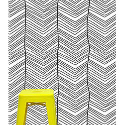 "the lovely wall co - 24"" x 48"" Hand Drawn Chevron Removable wall paper tile - wall paper - removable, - Spruce up any dull wall with removable wall paper. The removable wall paper is sold in individual 24""h x 48"" tiles. The ease of removal is much more convenient than traditional wall paper."