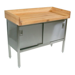 """John Boos Commercial - Boos 1-3/4"""" Maple Bakers Table w/ Full Riser - SS Base & Doors - John Boos Model ET3S. NSF-certified maple top includes a 4-inch riser on back and sides. Base is made of Type 300 s.s. Sliding doors on base cabinet."""