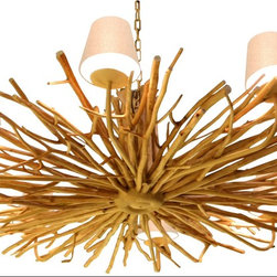 Scandinavian Design - Eucalyptus Wood Chandelier - Elegant, Beautiful , Sophisticated Are not enough words to say about this one of a kind Eucalyptus wood chandelier, made of natural driftwood and 6 natural Linen shades that are mounted over 6 UL Listed sockets 40 Watts Max
