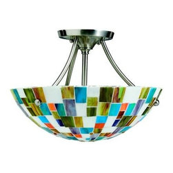 "Kichler - Kichler 65215 Confetti 2 Light Semi Flush Mount 65215 - Geometric and bright this semi flush ceiling light done with a brushed nickel finish and multi colored translucent mosaic glass is a cheerful addition to a hall or foyer. 2 light, 60 watt max, Diameter 14"", height 10"". Art Glass and Tiffany shades are natural materials - colors, patterns and textures will vary from piece to piece.Brushed Nickel finish Multi colored translucent mosaic glass 2 60 watt max bulbBackplate Dimensions: 5.13"" Dia Body Height: 9.875"" Body Material: Steel Glass Bulb Included: No Diffuser Description: Tiffany W Dark Segment Extra Lead: 6"" Finish Group: Silver Number of Light: 2 Primary Bulb Type: A19 Primary Max Watt: 60W Room: Bedroom, Hallway, Utility Socket 1 Base: Medium Socket 1 Max Wattage: 60 Style: Tiffany Type: Ceiling Lights UL CSA Listed: Yes Weight: 6 LBS Width: 13.625"""