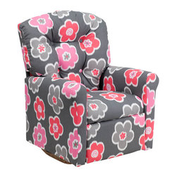 """Flash Furniture - Kids Gray Flower Printed Fabric Rocker Recliner - Kids will now be able to enjoy the comfort that adults experience with a comfortable recliner that was made just for them! This chair features a strong wood frame with soft foam and then enveloped in durable fabric upholstery for your active child. Choose from an array of colors that will best suit your child's personality or bedroom. This petite sized recliner features a rocker frame for kids to enjoy and feel like a big kid. The rocking feature becomes disabled once the chair is reclined for safety. Child's Recliner; Gray Flower Printed Fabric Upholstery; Easy to Clean Upholstery; Plush Button Tufted Back; Spring Seat; Fire Retardant Foam; UFAC Tested and Approved; Solid Hardwood Frame; Hardwood Rocker Frame; Intended use for Children Ages 2-9; 90 lb. Weight Limit; Safety Feature: Will not rock while reclined due to welded T-Bar; Overall dimensions: 22.5""""W x 24"""" - 37""""D x 28""""H"""