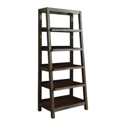 Riverside - Riverside Promenade Canted Bookcase - Riverside Promenade Canted Bookcase. Perfect for contemporary and transitional homes, the Promenade Canted Bookcase from Riverside is one piece that can stand the test of time. It's made from solid wood and primavera veneer in a rich, brown hue. The ladder-style design features a slanted front and open shelves that can be adjusted to your desired height. Fill it with your favorite books, or let it serve as a chic display case.Center and base shelf are fixedTop two shelves and a bottom shelf are adjustable