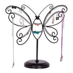 Mele Jewelry - Mele and Co. Bella Butterfly Jewelry Stand in Black - Mele Jewelry - Jewelry Boxes - 0011362