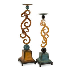 "IMAX CORPORATION - CK Fiesta Candleholders - Set of 2 - Carolyn Kinder designed fiesta inspired candlesticks in bright hues. Set of 2 in various sizes measuring around 14""L x 7.25""W x 28""H each. Shop home furnishings, decor, and accessories from Posh Urban Furnishings. Beautiful, stylish furniture and decor that will brighten your home instantly. Shop modern, traditional, vintage, and world designs."