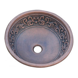 """Yosemite Home Decor - Copper Leaf Design Round Vessel Sink - This design surrounds the entirety of the copper vessel sink's body, just below the rim. The leaves used for the design are very linear, thus giving the sink more formality than whimsy. There is a subtle beauty in the lines and curves that comprise this fixture.  Material: Heavy Duty 16 Gauge High Quality Copper; Dimensions: 15.75"""" X 15.75"""" X 6""""; Drain Hole: 1.5""""; Weight: 5.5 lbs; Installation: Top Mount; Not Included: Pop Up Drain & Faucet."""