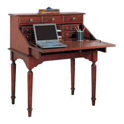 Coaster - Coaster Desks Traditional Secretary Desk in Cherry - Coaster - Secretary Desks - 800371 - Add this lovely traditional secretary desk to your home office or work area for a compact work space that will meet your needs. The front drops down to reveal a generously sized work surface that is ideal for laptop computer use. Eight small drawers inside will keep your work essentials organized while letter shelves make correspondence simple. When the hinged surface is closed you still have access to three small drawers along the top and two medium drawers below. Place this desk in a hallway to stash keys mail and other items while on the go. Beautiful turned legs a shaped apron and antiqued brass finished metal hardware complete this stunning style. The rich medium wood finish will blend easily with your decor for a warm and inviting look that you will love.