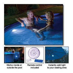 Blue Wave - Blue Wave LED Pool Wall Light w/ RC - Remote control led pool wall light instant illumination for your pool or spa! The most versatile and easy-to-use led pool wall light available. Featuring 2 settings, bright (13 leds) or dim (5 leds) this multipurpose white light attaches to the interior or exterior of frame and steel wall above-ground pools as well as umbrellas, tents, sheds, etc. Remote to change settings and turn on/off. Option to float on pool surface. Attaches magnetically to wall or to metal plate included. Requires 3 aa batteries (Not included) and 1 button cell battery (Included)