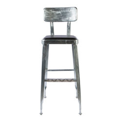 Dulton - Standard Bar Chair, Galvanized - The standard bar chair has a retro french industrial look and yet comfortable for studying, reading, and/or dining. Made for ever lasting stable outdoor/indoor seating.