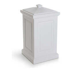 Mayne Inc. - Berkshire Storage Bin White - Our multi-purpose storage bin offers a perfect blend of style and function. The Berkshire is ideal for a backyard waste bin and includes a set of hooks to hang your waste bag. This storage bin is a great way to hide children's toys, gardening tools, bird seed, or bags of salt for the winter months. Multi-purpose storage bin.  Molded from high-grade polyethylene. Removable lid with snap fit design. Includes 2 waste bag hooks.  Storage capacity is approximately 45 gallons (170 Liters).  15 year warranty on the bin, 1 year limited warranty on the waste bag hooks.