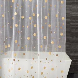 Moondance Shower Curtain, Shades of Gold - Now this gold-dot shower curtain is reason enough to get up in the morning. It's so happy looking that you may even find yourself becoming a morning person after all.