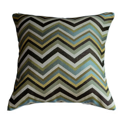 KH Window Fashions, Inc. - Chevron Pillow Cover in Mineral/Aqua/Lt. Green/Brown/Gold/Ivory, With Insert - Chevron pillow in aqua, lt. green brown, gold and ivory. Perfect to toss on your bed or sofa.