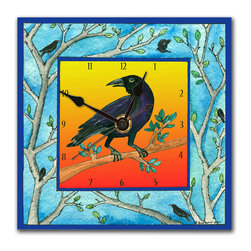 Crow Wall Clock - The Crow Clock is handmade from a print of an original watercolor by Northwest artist Pamela Corwin, which is dry mounted onto black foam board and heat-sealed with a protective laminate. It looks like ceramic, but is so light it can be hung on a puskpin. Each clock has a hanger on the back and comes in a gift box. The quartz movement runs on a single AA battery. Made in the USA. (Be sure to look for our crow alarm clock and night light and bird-themed magnets, too!)