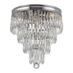 "Crystorama - Contemporary Crystorama Chloe 10 1/2"" High Chrome Ceiling Light Fixture - From the Chloe collection this ceiling light features polished chrome finish and hand-polished drop crystal accents. Ideal for any transitional or traditional home decor style this fixture has a chandelier-style design. Design by Crystorama Lighting. Chrome construction. Polished chrome finish. Clear hand-polished plug drop crystal accents. Takes three 60 watt candelabra bulbs (not included). 10"" wide. 10 1/2"" high.  Chrome construction.   Polished chrome finish.   Clear hand-polished plug drop crystal accents.   Takes three 60 watt candelabra bulbs (not included).   10"" wide.   10 1/2"" high."