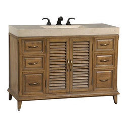 Ambella Home - Hampton Road Large Sink Chest - This petite sink chest in the Hampton Road collection is crafted from gmelina solids with maple veneer. It features two doors and an integrated white agate fossil stone top and sink.   Imported.