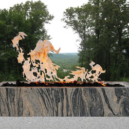 """The Modern Fire Experience with Fire Bowls by Dunis Stone, Inc. - Dunis Stone Linear Fire Bowl/ Vessel 42"""", 42"""" x 14"""" x 8"""" Polished all sides,Granite, Dragon Brown (Level III), Polished Finish"""
