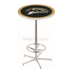 Holland Bar Stool - Holland Bar Stool L216 - 42 Inch Chrome Western Michigan Pub Table - L216 - 42 Inch Chrome Western Michigan Pub Table  belongs to College Collection by Holland Bar Stool Made for the ultimate sports fan, impress your buddies with this knockout from Holland Bar Stool. This L214 Western Michigan table with round base provides a commercial quality piece to for your Man Cave. You can't find a higher quality logo table on the market. The plating grade steel used to build the frame ensures it will withstand the abuse of the rowdiest of friends for years to come. The structure is triple chrome plated to ensure a rich, sleek, long lasting finish. If you're finishing your bar or game room, do it right with a table from Holland Bar Stool.  Pub Table (1)