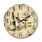 YOSEMITE HOME DECOR - 14 in. Circular Wooden Wall Clock with two bottles of wine print - It's wine o'clock somewhere. Hang this European-styled wall clock in your kitchen, dining room or wine cellar and toast the good life. Salud!
