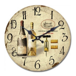 YOSEMITE HOME DECOR - 14 in. Circular Wooden Wall Clock with Bottles of Wine Print - It's wine o'clock somewhere. Hang this European-styled wall clock in your kitchen, dining room or wine cellar and toast the good life. Salud!