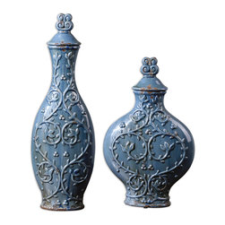 Uttermost - Aoi Containers, Set of 2 - Add some rustic allure to your living spaces with these crackled blue ceramic jars. The floral pattern makes them a charming accent piece on a console table or book case. The lids are removable, so you can add some dried flowers or twigs for a touch of summer.