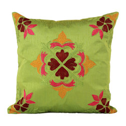 Banarsi Designs - Floral Embroidered Pillow Cover, Set of 2 (Citrus Green) - The Floral Embroidered Pillow Cover Set of 2 from Banarsi Designs is available in beautiful and vivid colors. Crafted in India, our accent pillow covers incorporate a unique embroidered floral pattern using a combination of color tones. Zippers allow for easy removal and the 16 X 16 size fits most throw pillows in your home.   Perfect for decorating your living room, guest rooms and bedrooms.