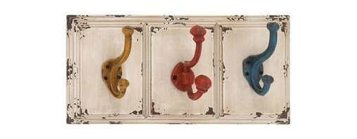 """BZBZ34913 - Wood Wall Metal Hook with Elegant Color Combination of White Wooden Plaque - Wood Wall Metal Hook with Elegant Color Combination of White Wooden Plaque and Yellow, Red and Blue metal hooks. The dimensions of the wood metal wall hook are 15"""" x 4"""" x 7"""". Some assembly may be required."""