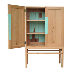 Elliot Stith Fine Woodworking - Reclaimed Cabinet - This well proportioned cabinet is beautiful on the outside and maybe more beautiful on the inside.  Made of reclaimed Douglas fir and reclaimed mint green bead board.  Made of 100% reclaimed wood.  Water based polyurethane finish.  Handmade in Oregon.