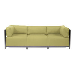 Howard Elliott - Sterling Willow Axis 3-piece Sectional - Titanium Frame - A Fashionable Trio! Lounge in style on a Sterling Axis 3pc Sectional will intoxicate your room with its uplifting style. Float the Sterling Axis 3pc Sectional in your room for an intimate seating arrangement. Expand your sectional with additional Chair, Corner or Ottoman Pieces. This piece features boxed cushions with Velcro attachments to keep the cushions from slipping and looking their best all of the time. Your Sterling Axis 3pc Sectional will definitely turn heads with its sophisticated linen-like texture and vibrant color selection. This Sterling Willow piece is 100% Polyester finished in a soft burlap texture in a willow green color. 95.5 in. W x 32.5 in. D x 30 in. H