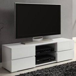 Coaster - 700825 TV Console, High Gloss White - This TV console features four storage drawers perfect for movies and small electronics, a sturdy glass shelf in the center and wire management access in the back. The large top surface provides plenty of space for your television.