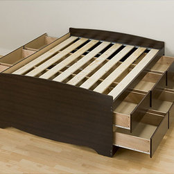 None - Espresso Tall Full 12-drawer Captain's Platform Storage Bed - Get all the bedroom storage of a dresser with this tall Full Captain's platform storage bed. With twelve full-sized,18-inch deep drawers,this captain's bed offers more storage than most chests.