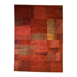 Rug Knots - Chobi Ziegler Oriental Hand Knottted Rug without Borders Multi-Colored Red 7.8x1 - Modern shapes and feminine colors mix together in this contemporary rug for a cheerful yet structured look. Rich reds and warm rose colors dominate the rug's color palette, with hints of gold, green, and blue providing balance and contrast. This chic piece would look great in a casual kitchen area, playroom, or kids' room -- it would also add a splash of fun and color to a stuffy dining room or bland entryway. The 100% wool fibers of this rug are designed to withstand daily wear, and feel wonderful under bare feet.