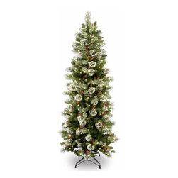 7 1/2 Ft. Wintry Pine Slim Hinged Christmas Tree w/ 400 Clear Lights - Measures 7.5 feet tall with 37 inch diameter. Pre-lit with 400 UL listed, pre-strung Clear lights. Tip count: 642. Features cones, red berries and snow flakes. All metal hinged construction (branches are attached to center pole sections). Comes in three sections for quick and easy set-up. Includes sturdy folding metal tree stand. Light string features BULB-LOCK to keep bulbs from falling out. If one bulb burns out the others remain lit. Fire-resistant and non-allergenic. Includes spare bulbs and fuses. 5-year tree warranty / 2-year lights warranty. Packed in reusable storage carton. Assembly instructions included.