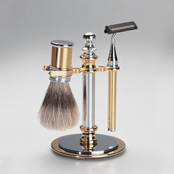 Windisch - Shaving Set in Chrome, Gold - Contemporary stye shaving set with included brush and razor. Available in 2 finishes. Windisch shaving set. From the Conica collection. Luxury & luxurious, made in and coated in chrome or gold. Imported from and manufactured in Spain.